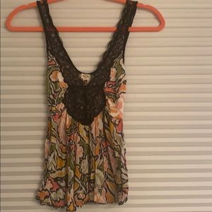 Free People Floral Lace Top